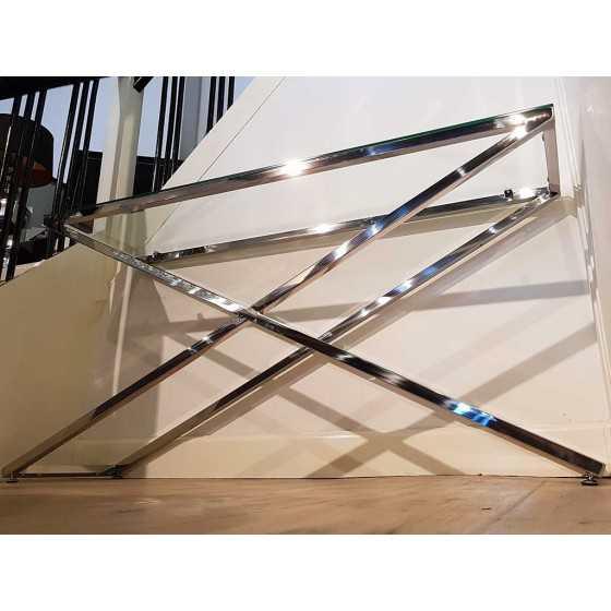 X-Legs Side Table Sidetable Chromen Onderstel met Glasplaat