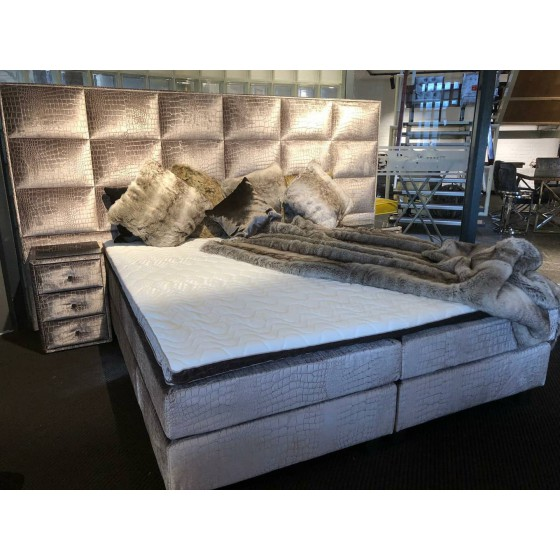 Boxspring 2-Persoons 180x200 Compleet Majestic Taupe croco