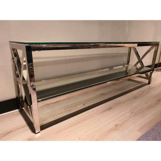 Tv meubel spiegel met chrome kruis 160x55x40cm