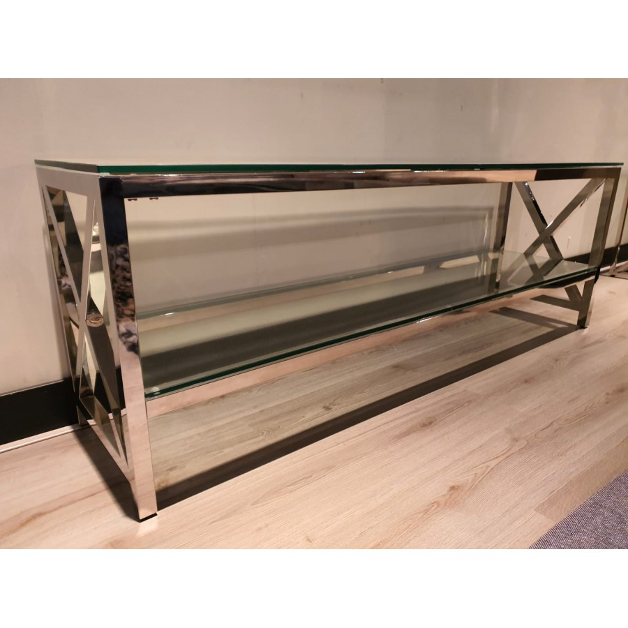 Tv meubel glas met chrome kruis 160x55x40cm