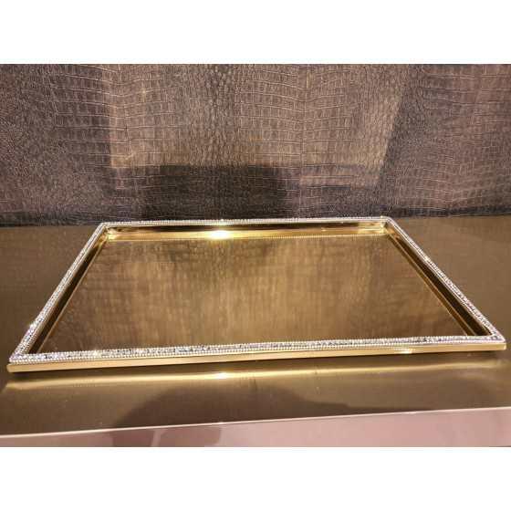 Sweety plateau dienblad goud met strass 45x30