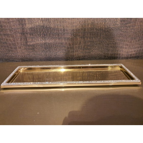 Sweety plateau dienblad goud met strass small 43x15