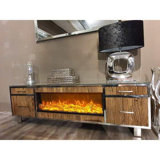 Railway | Wagonhout tv meubel met sfeerhaard inclusief glasplaat 200cm