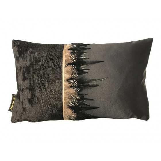 Brons Kussen zwart croco met veren 60x40cm
