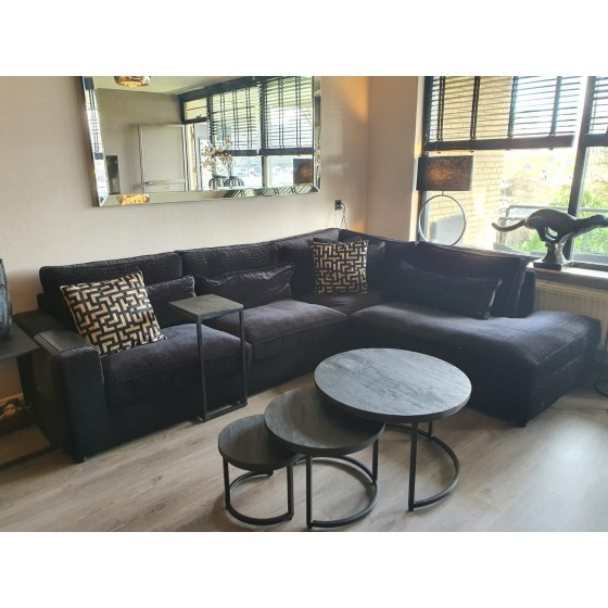 Hoekbank | Loungebank | St. Tropez zwart croco 315x250 | Pocketvering | 3+OT