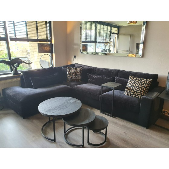 Hoekbank | Loungebank | St. Tropez zwart croco 315x250 | Pocketvering | OT+3