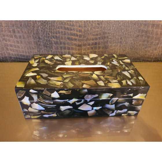 Schelpen tissuebox zwart/zilver