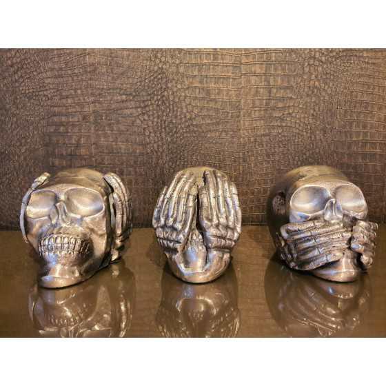 Horen, Zien en Zwijgen skulls zilver