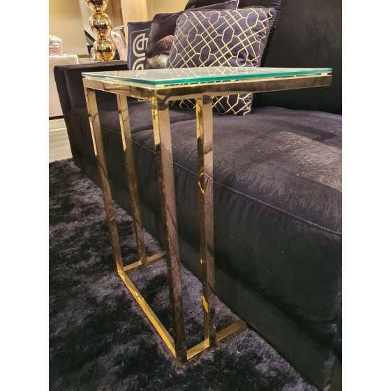 Goud tafeltje met glasplaat 60x40x40 FA