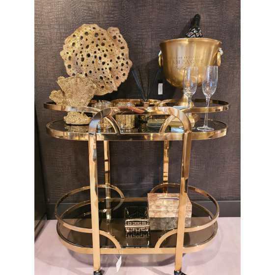 Gouden theekar | Bijzettafel op wieltjes goud Uitverkocht
