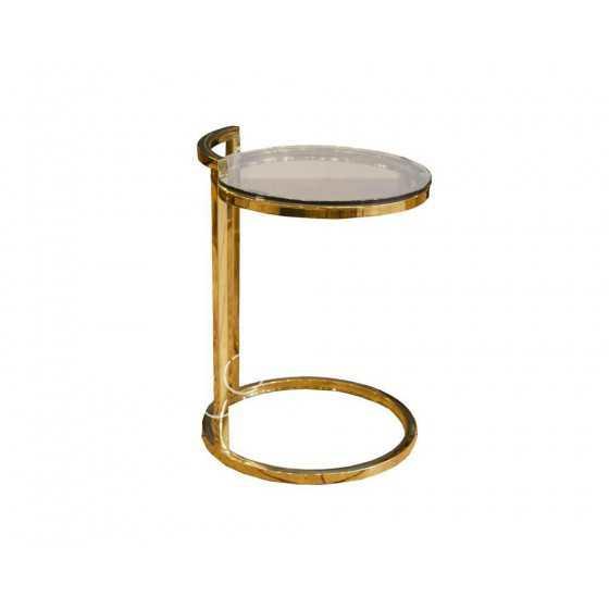 Gouden Bijzettafel Laptop tafel met glas 40x40x55