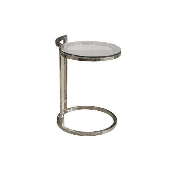 Zilveren Bijzettafel Laptop tafel rond met glas 40x40x55