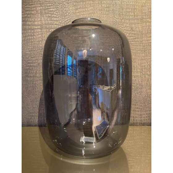 Vaas glas Smokey grey   antraciet Large 45cm