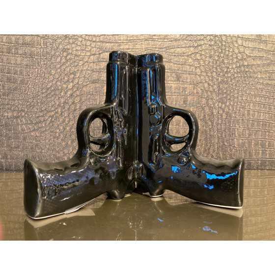 Pistool vaas zwart keramiek 3pcs