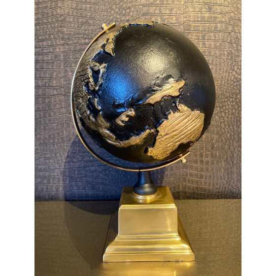 Wereldbol zwart met goud 35cm
