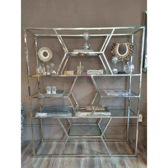 Zilveren wandkast zilver inclusief glasplaten 150x180cm