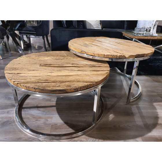 Wagonhout salontafel set Doblo inclusief glasplaten