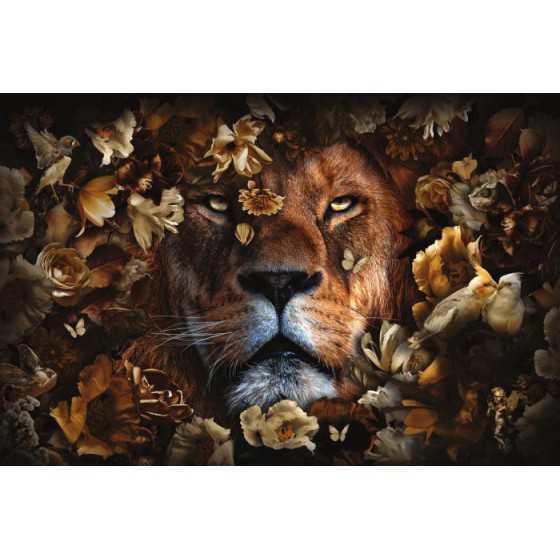 Glasschilderij leeuw met bloemen 120x80 cm