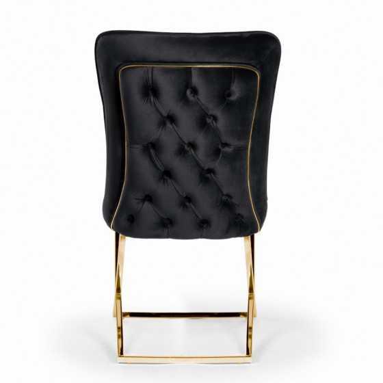 Eetkamerstoel model Oxford met zilveren kruispoot zwart met goud Luxury