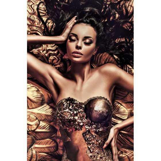 Glasschilderij Vrouw bruin 80x120
