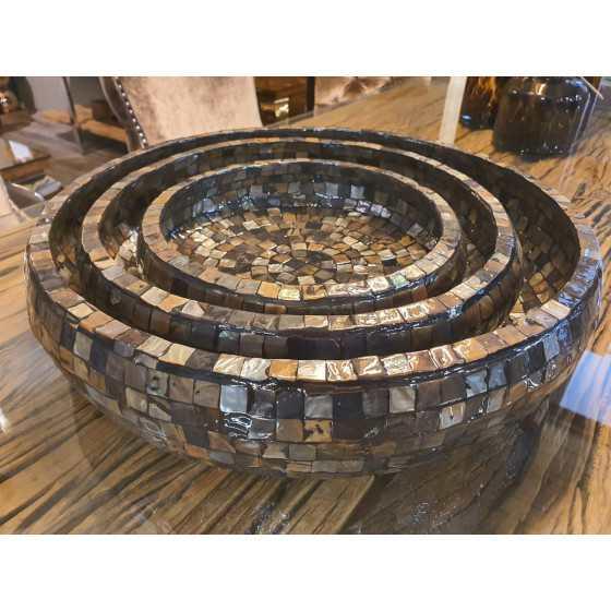 Schaal bowl set 3 pcs schelpen bruin